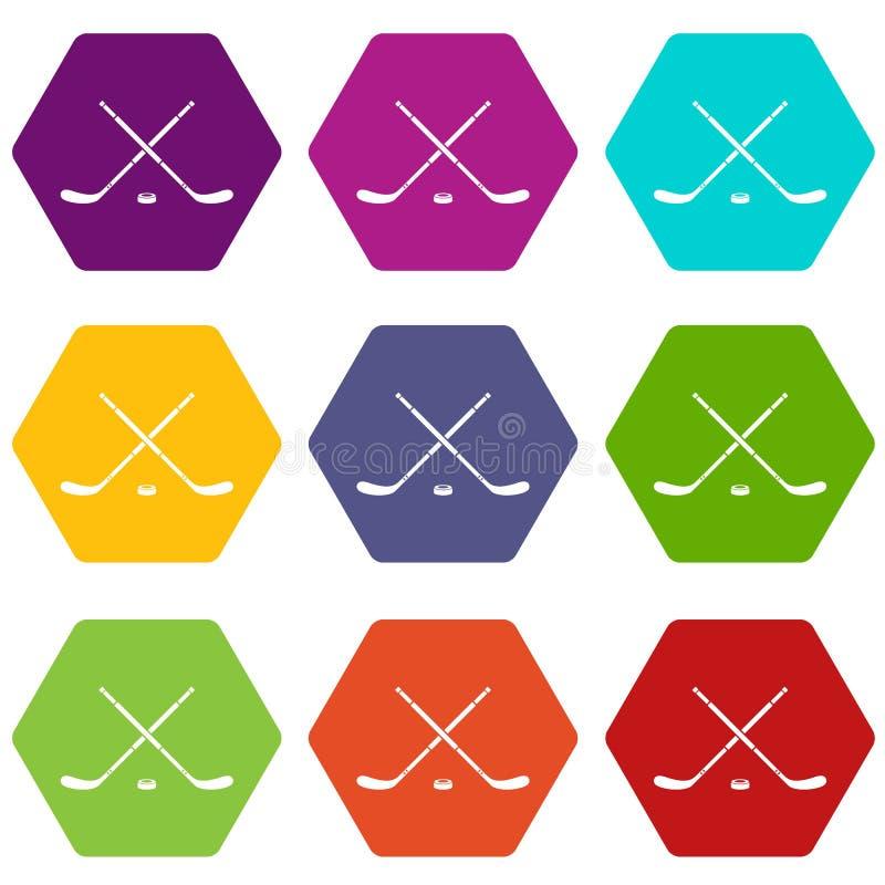 Download De Vastgestelde Kleur Van Het Hockeypictogram Hexahedron Vector Illustratie - Illustratie bestaande uit doel, puck: 107708367