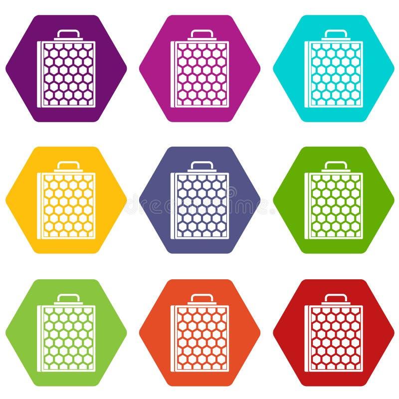 Download De Vastgestelde Kleur Van Het Honingraatpictogram Hexahedron Vector Illustratie - Illustratie bestaande uit landbouwbedrijf, gezondheid: 107708762