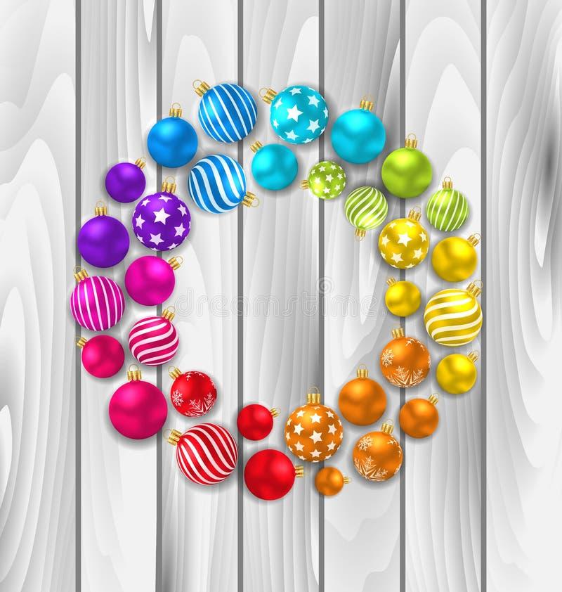 De vastgestelde Kleurrijke Ballen van het Kerstmisglas op Houten Achtergrond stock illustratie
