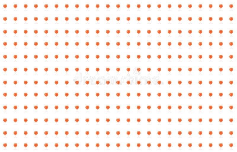 De vastgestelde de limonade eindeloze rij van de glas rode oranje cocktail van minisilhouetten baseert de culinaire heldere achte vector illustratie