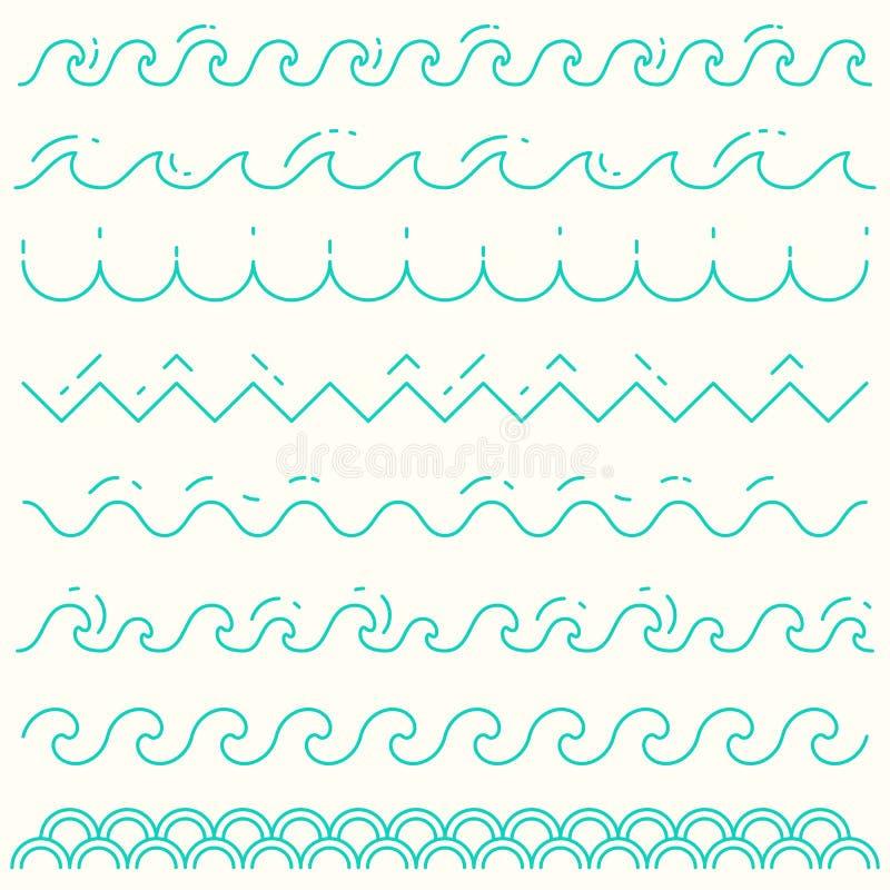 De vastgestelde lineaire vector van het de lijnpatroon van de golven blauwe golf royalty-vrije illustratie