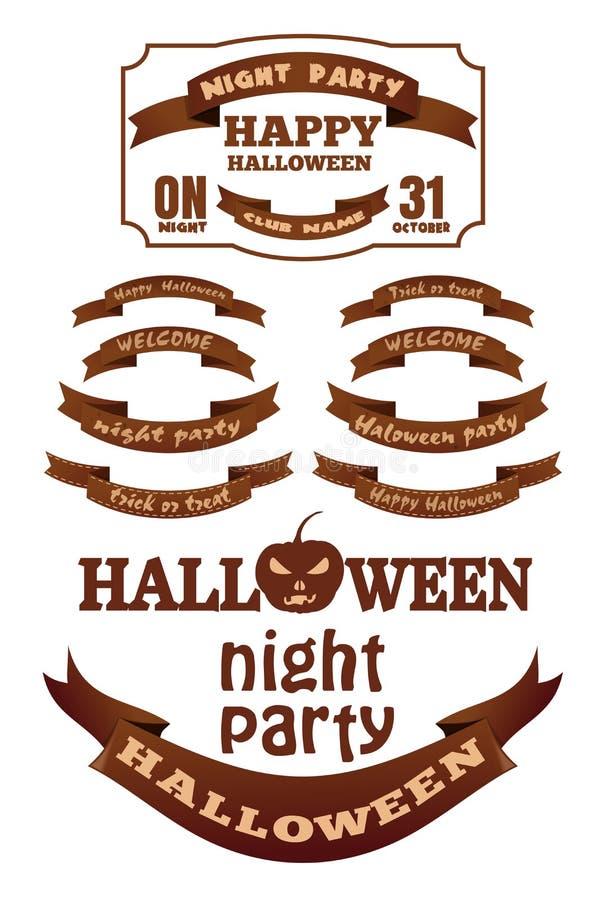 De de vastgestelde linten en etiketten van Halloween met inschrijvingen stock illustratie