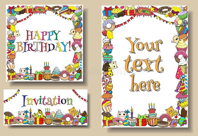 De vastgestelde malplaatjes van de de verjaardagspartij van groetkaarten met de grenzen van snoepjeskrabbels Vectorhand getrokken stock illustratie
