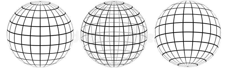 De vastgestelde Meridiaan van de raster 3d bol en parallel, de gebiedslijnen op het malplaatjeraster van de oppervlakte Hoogste e stock illustratie