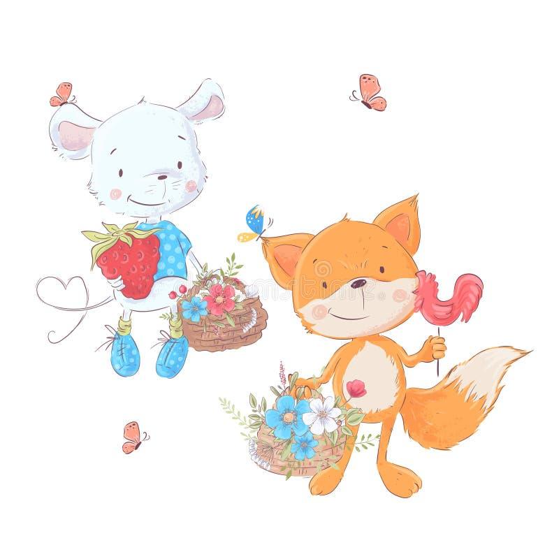 De vastgestelde muis en de vos van beeldverhalen leuke dieren met manden van bloemen voor kinderenillustratie Vector vector illustratie