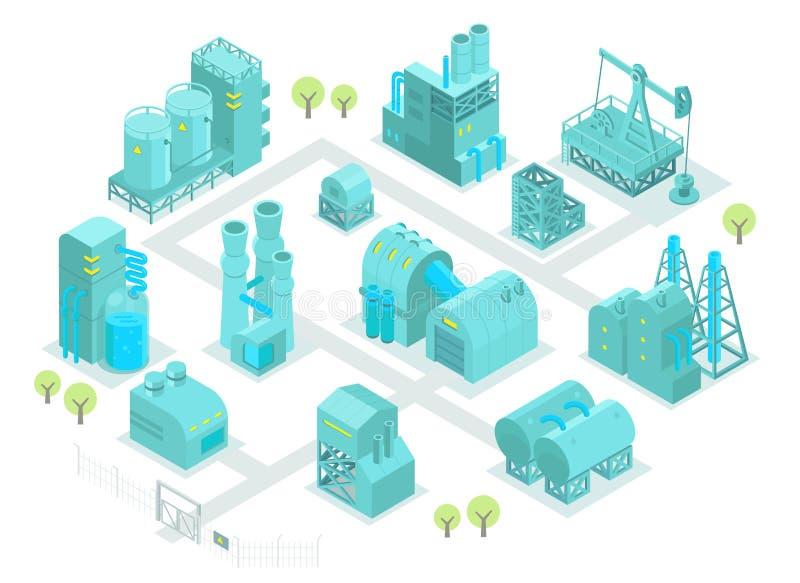 De vastgestelde olieproductie van de fabrieks isometrische illustratie royalty-vrije illustratie