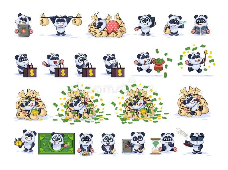 De vastgestelde panda van de uitrustingsinzameling draagt sticker emoticon stock illustratie
