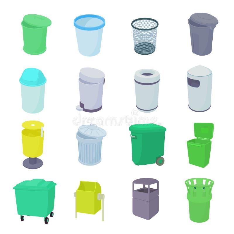 De vastgestelde pictogrammen van de afvalbak vector illustratie