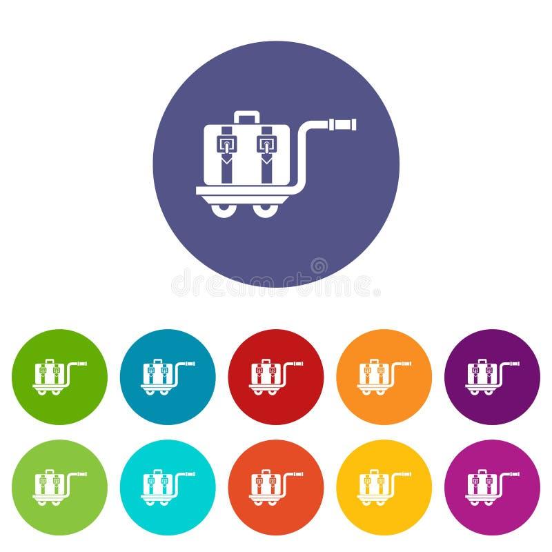 De vastgestelde pictogrammen van de bagagekar vector illustratie