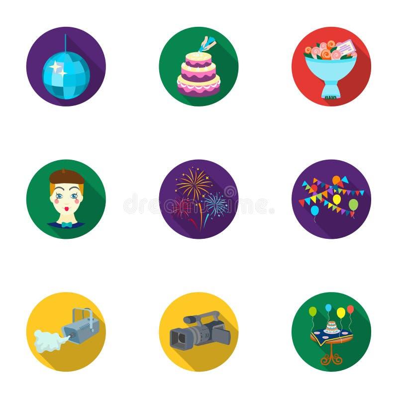 De vastgestelde pictogrammen van de gebeurtenisdienst in vlakke stijl Grote inzameling van het vectorsymbool van de gebeurtenisdi stock illustratie