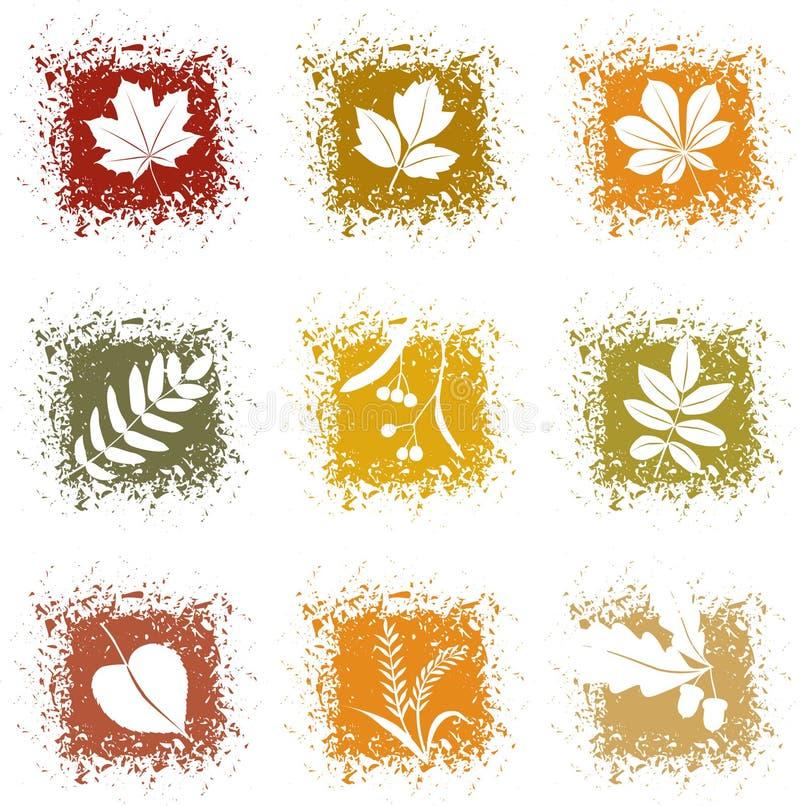 De vastgestelde pictogrammen van de herfstbladeren vector illustratie