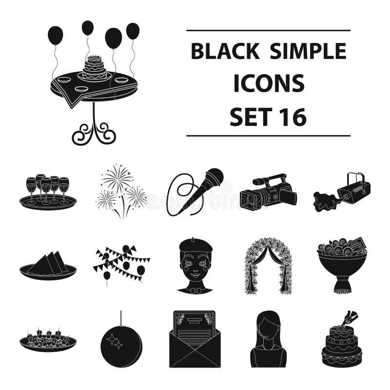 De vastgestelde pictogrammen van de gebeurtenisdienst in zwarte stijl Grote inzameling van illustratie van de het symboolvoorraad stock illustratie