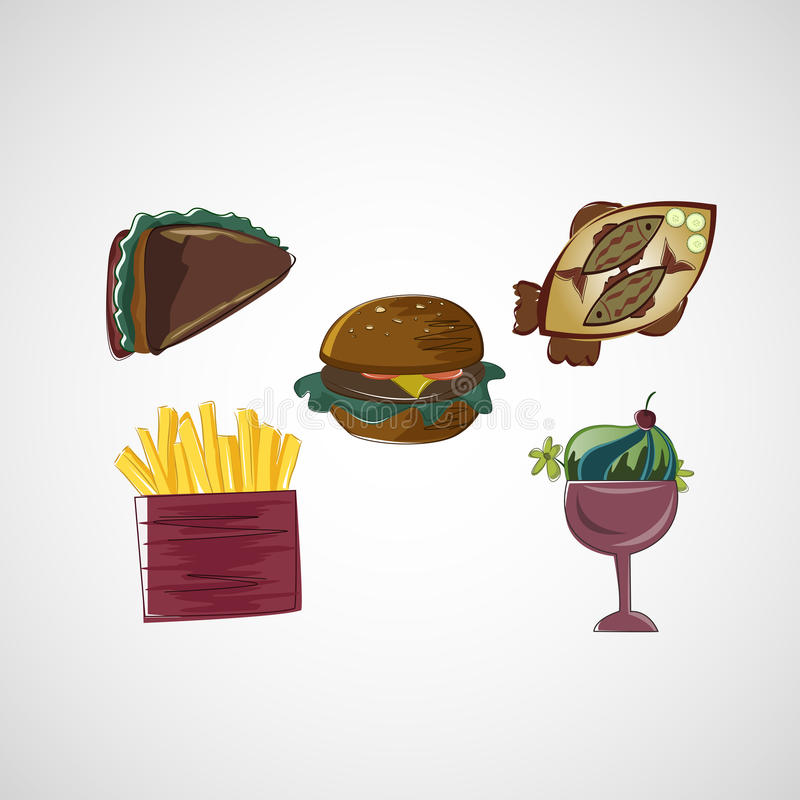 De vastgestelde pictogrammen van kleuren vectorschetsen van voedsel royalty-vrije illustratie