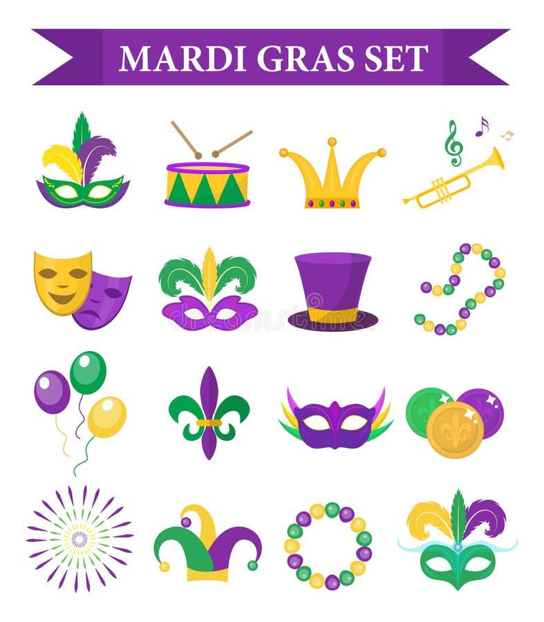 De vastgestelde pictogrammen van Mardi Gras Carnaval, ontwerpelement, vlakke stijl Inzameling, masker met veren vector illustratie