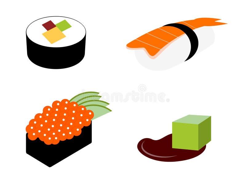 De vastgestelde pictogrammen van sushi royalty-vrije illustratie