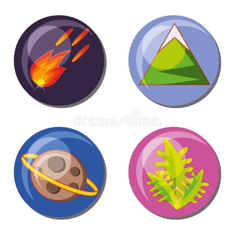 De vastgestelde pictogrammen van de videospelletjescène vector illustratie
