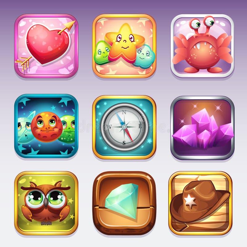 De vastgestelde pictogrammen voor app slaan en Google-Spel aan computerspelen op op diverse onderwerpen vector illustratie