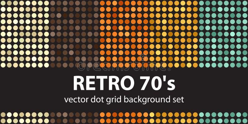 De vastgestelde Retro jaren '70 van het stippatroon Vector naadloze geometrische punt B stock illustratie