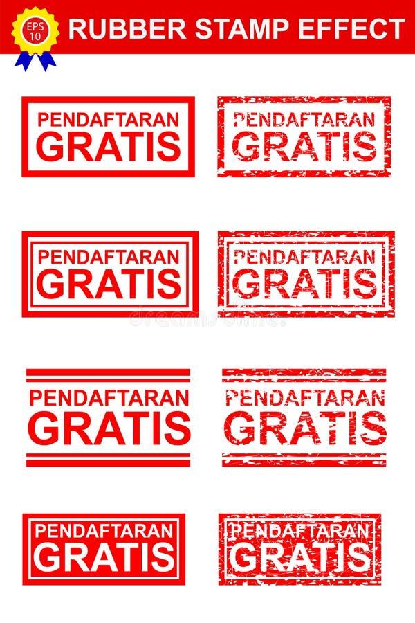 De vastgestelde Rubberzegeleffect Vrije Vrije Registratie van Pendaftaran in de Taal van Indonesië royalty-vrije illustratie