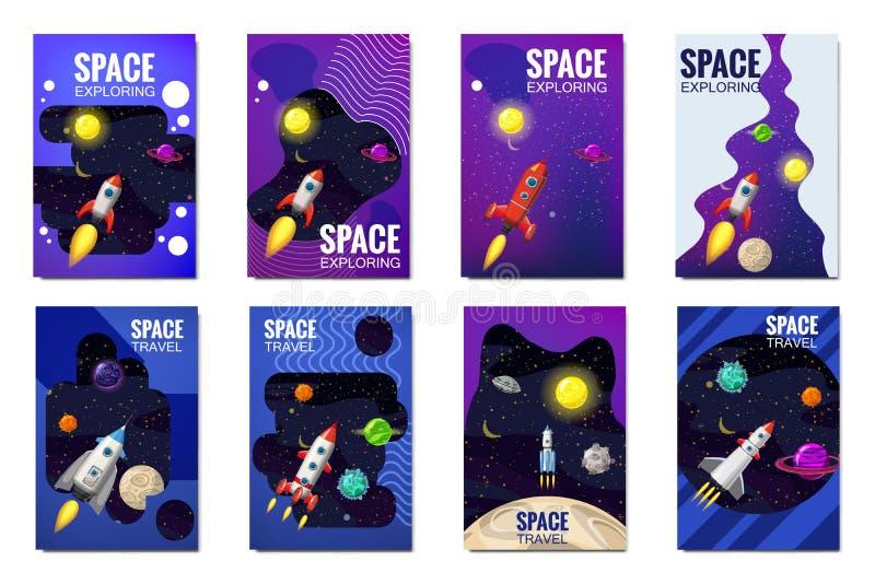De vastgestelde ruimtekaarten van de raketreis, exploratie van het heelal, andere planeten, vliegende raketten, sterren van verre vector illustratie