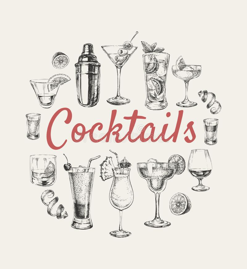 De vastgestelde schetscocktails en de alcoholdranken overhandigen getrokken illustratie stock illustratie