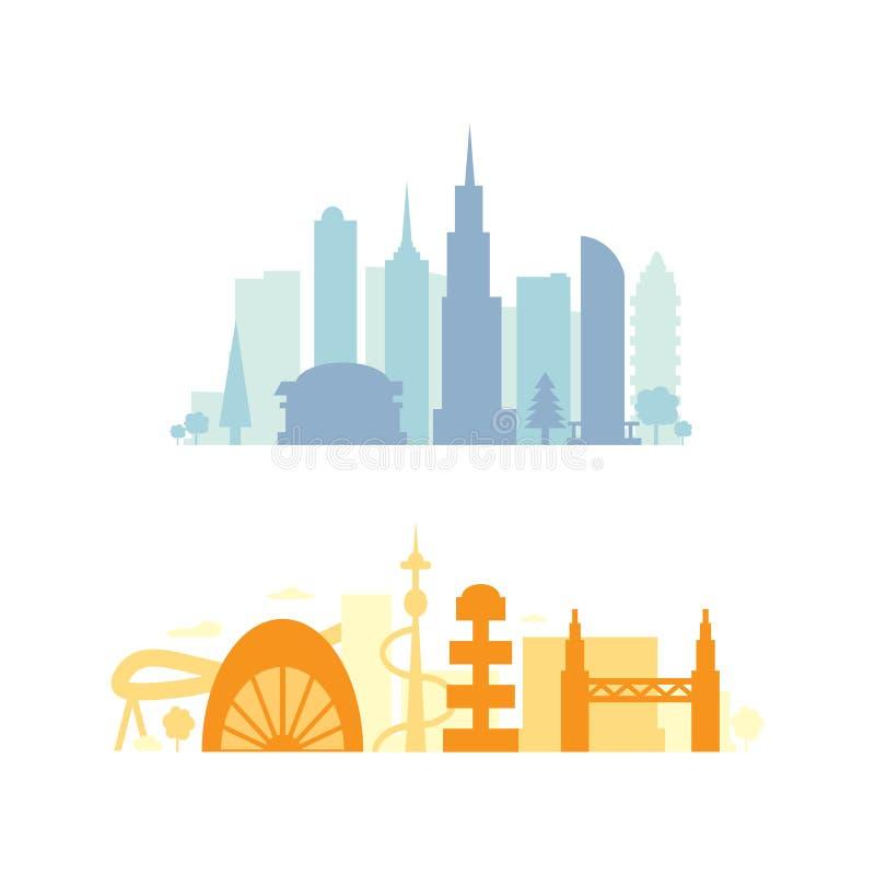 De vastgestelde silhouetten van stadsgebouwen cityscape voortaan De moderne vectorillustratie van stadselementen vector illustratie