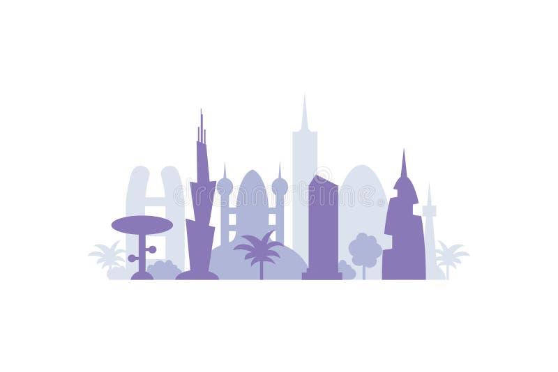 De vastgestelde silhouetten van stadsgebouwen cityscape voortaan De moderne vectorillustratie van stadselementen stock illustratie