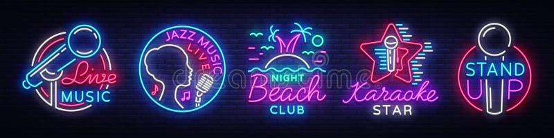De vastgestelde symbolen van neontekens Live Music, Jazz Music, Nachtclubstrand, Karaoke, Tribune op emblemen en emblemen Heldere royalty-vrije illustratie