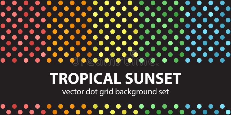 De vastgestelde Tropische Zonsondergang van het stippatroon stock illustratie