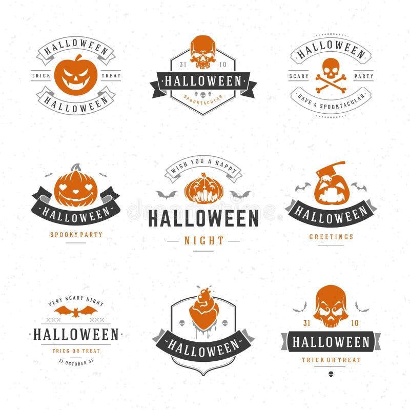 De vastgestelde Uitstekende Gelukkige Kentekens en de Etiketten van Halloween vector illustratie