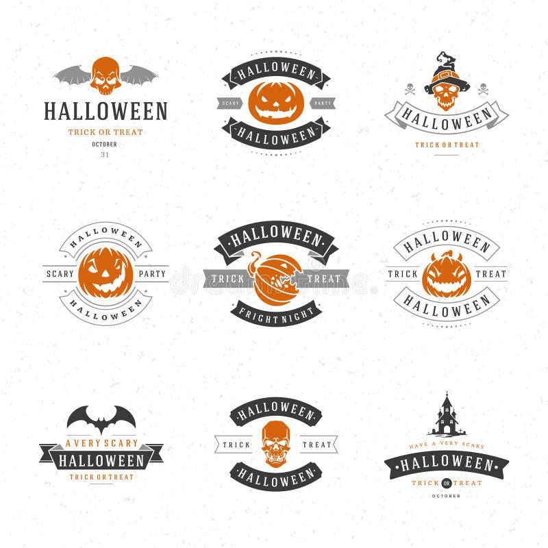 De vastgestelde Uitstekende Gelukkige Kentekens en de Etiketten van Halloween stock illustratie