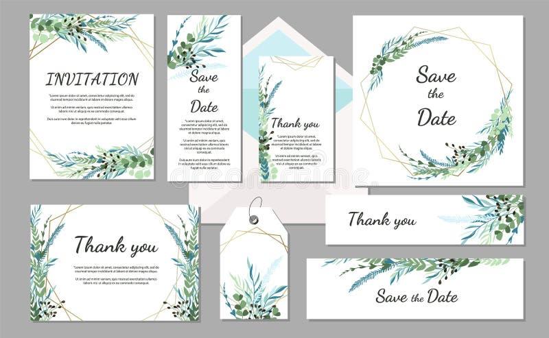 De vastgestelde uitstekende kaart van de Huwelijksuitnodiging met bladeren en geometrische kaders stock illustratie