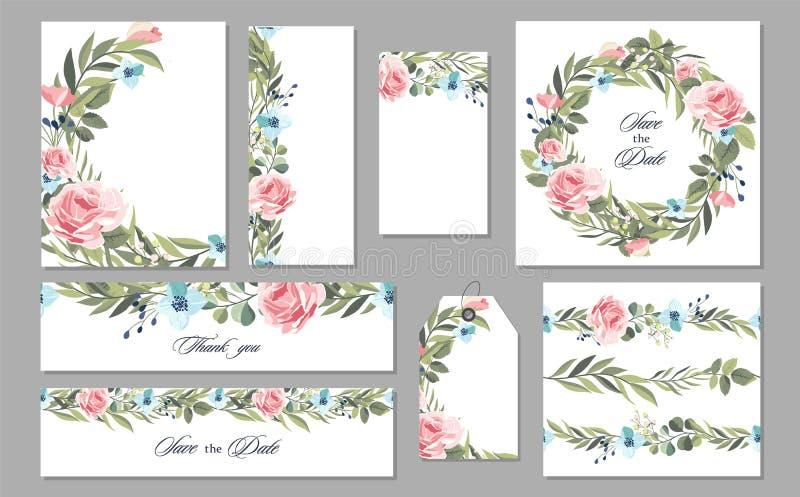 De vastgestelde uitstekende kaart van de Huwelijksuitnodiging met bloemen en bladeren Vector stock illustratie