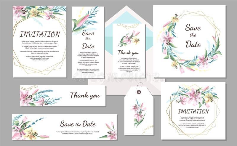De vastgestelde uitstekende kaart van de Huwelijksuitnodiging met roze lelie en geometrische kaders Hand getrokken bloemen vector illustratie