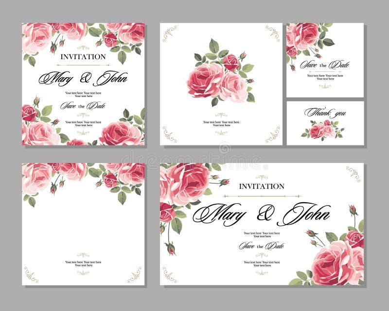 De vastgestelde uitstekende kaart van de Huwelijksuitnodiging met rozen en antieke decoratieve elementen stock illustratie