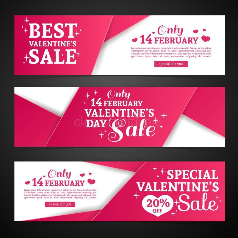 De vastgestelde van de de valentijnskaart` s dag van het malplaatjeontwerp Gelukkige horizontale banner Vlieger met rode kleurenb vector illustratie