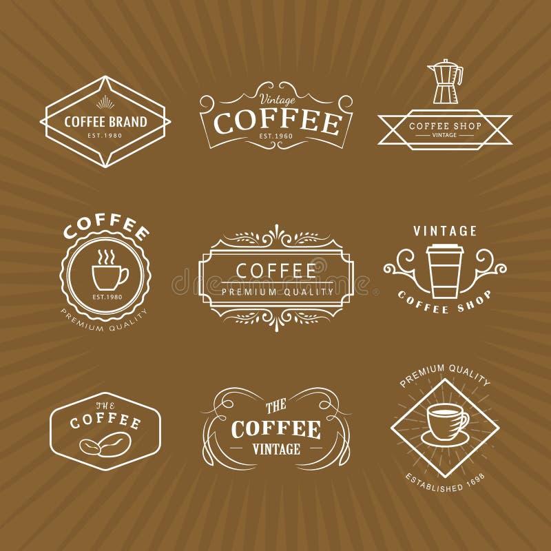 De vastgestelde van het het etiketbord van het koffieembleem uitstekende retro vector vector illustratie