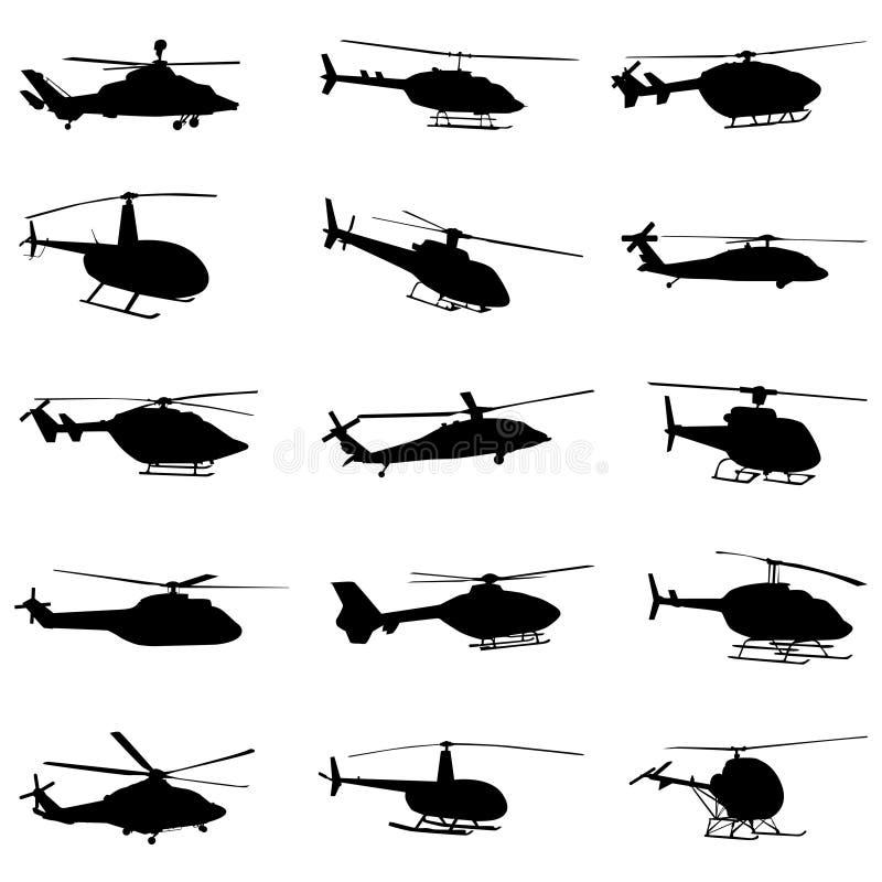 De vastgestelde vector van de helikopter royalty-vrije illustratie
