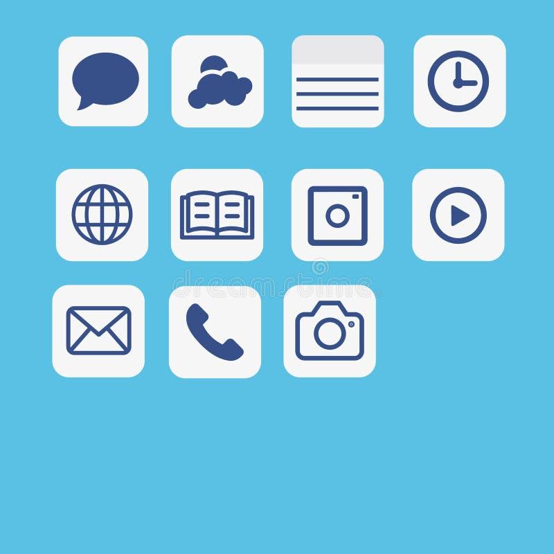 De vastgestelde vector van de pictogrammentoepassing Het pictogram van verschillende media die op blauw wordt geplaatst royalty-vrije illustratie