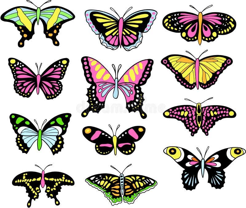De Vastgestelde Vector van de vlinder royalty-vrije illustratie
