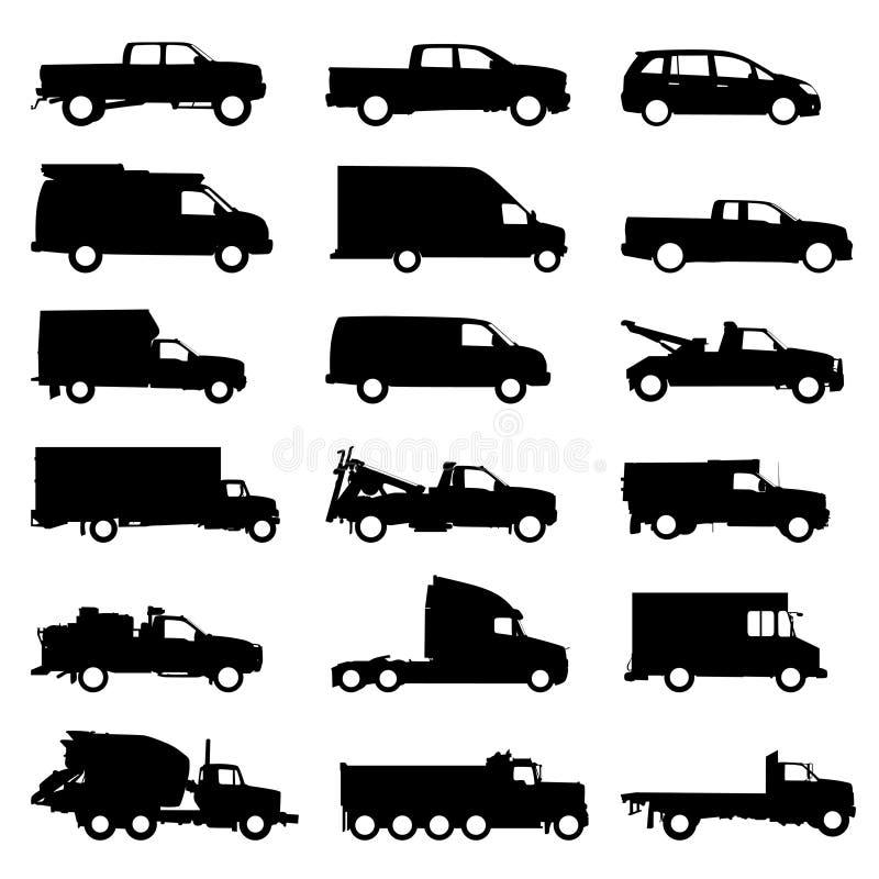De vastgestelde vector van de vrachtwagen vector illustratie