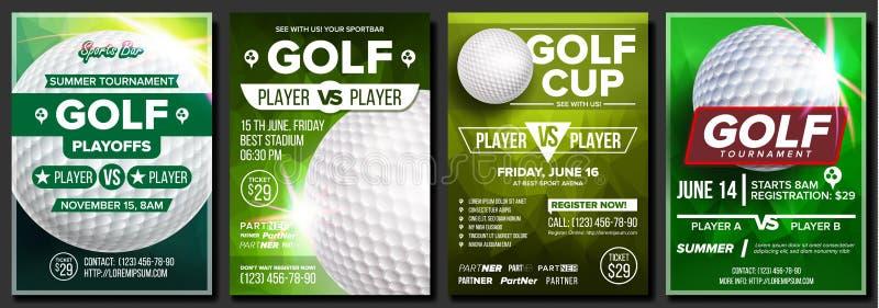 De Vastgestelde Vector van de golfaffiche Ontwerp voor de Bevordering van de Sportbar Ijzer dat golfbal in motie raakt Moderne To stock illustratie