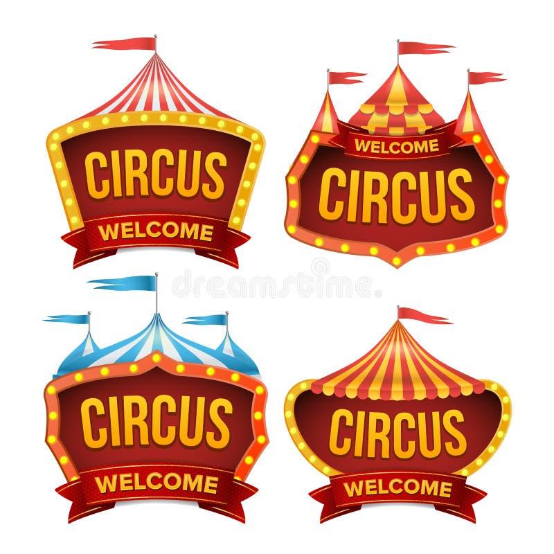 De Vastgestelde Vector van het circusteken Het Teken van nachtcarnaval De affiche van de circustent De Gloeilampenkader van Carna vector illustratie