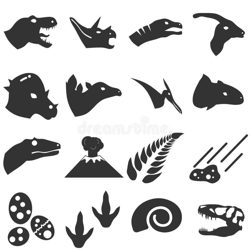 De Vastgestelde Vector van het dinosauruspictogram vector illustratie