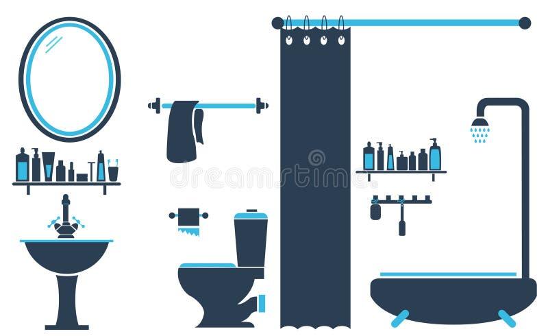 De Vastgestelde Vector van het Ontwerp van het Toilet van de badkamers stock illustratie