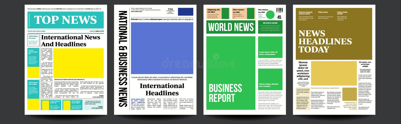 De Vastgestelde Vector van de krantendekking Abstract Nieuwsmalplaatje Blanco paginaruimten voor Beelden breaking Realistisch Pag stock illustratie