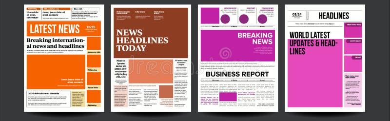 De Vastgestelde Vector van de krantendekking Met Tekst en Beelden De dagelijkse Openingsartikelen van de Nieuwstekst Perslay-out  vector illustratie