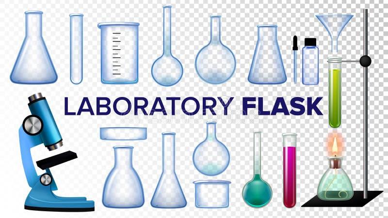 De Vastgestelde Vector van de laboratoriumfles Chemisch glas Beker, test-Buizen, Microscoop Leeg Materiaal voor Chemieexperimente royalty-vrije illustratie