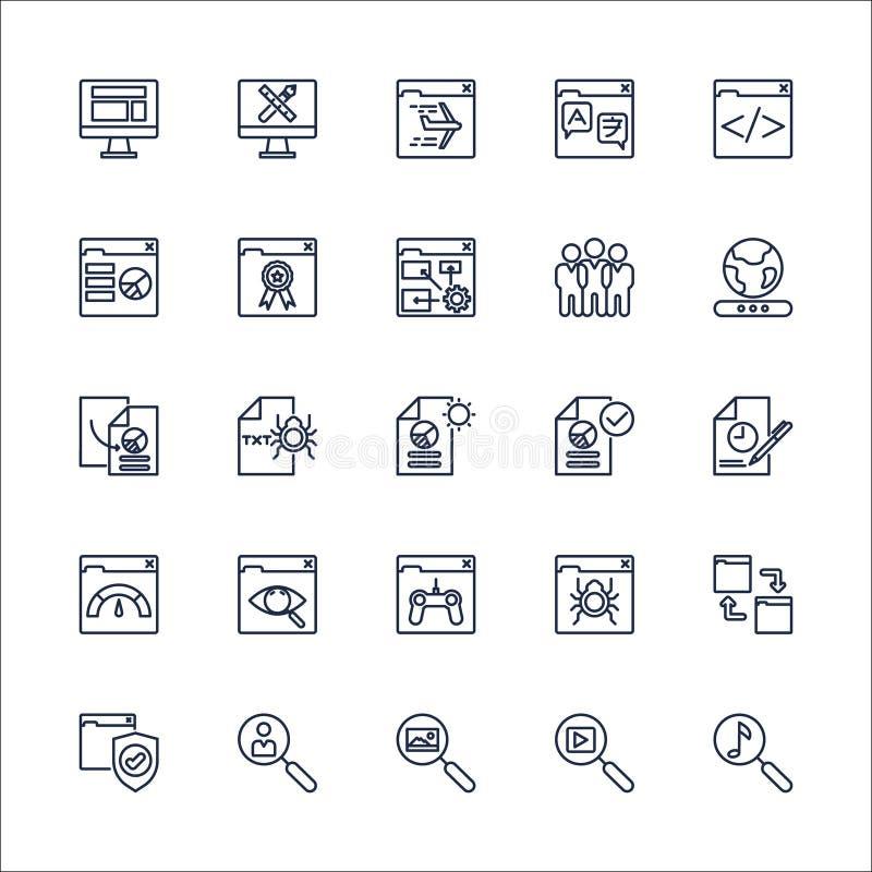 De vastgestelde vector van SEO Outline Icons stock illustratie