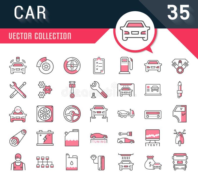 De vastgestelde Vector Vlakke de Autodienst van Lijnpictogrammen stock illustratie